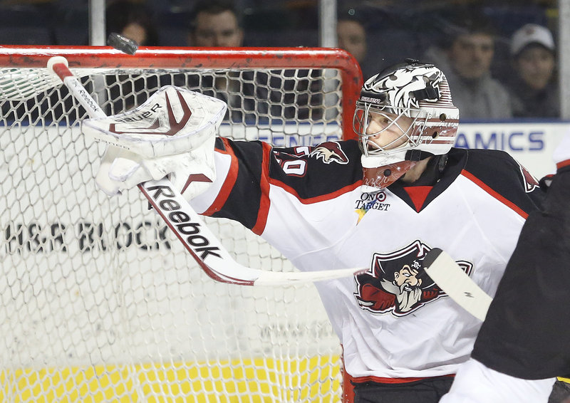 Mark Visentin, who hadn't played since suffering an injury in a Feb. 11 game, made 31 saves in a winning performance for the Portland Pirates.