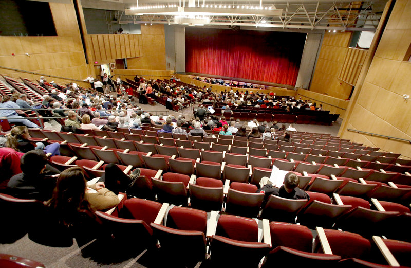 "There were many seats available near the back of the South Portland High School auditorium just before the start of the performance of the musical ""Thoroughly Modern Millie"" on Friday. The school could not advertise the production because of licensing restrictions."