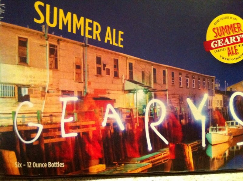 Geary's Summer Ale, already on shelves, features a package designed by Kaitlin Callender, a junior at the Maine College of Art. Her photo of a Portland pier won Geary's annual design contest, which comes with a $5,000 prize.