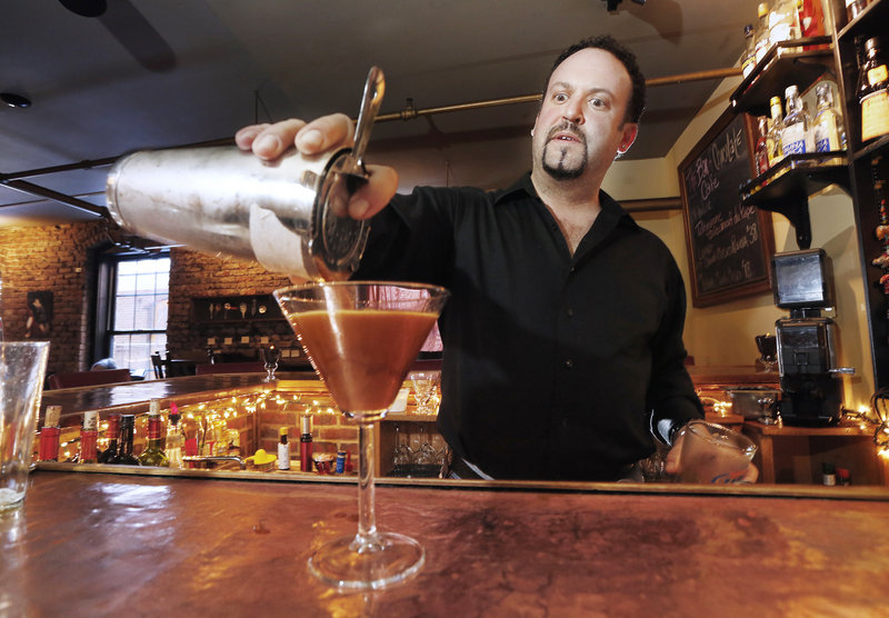 Bartender Kevin Goodell makes an espresso martini at the Bar of Chocolate in Portland.