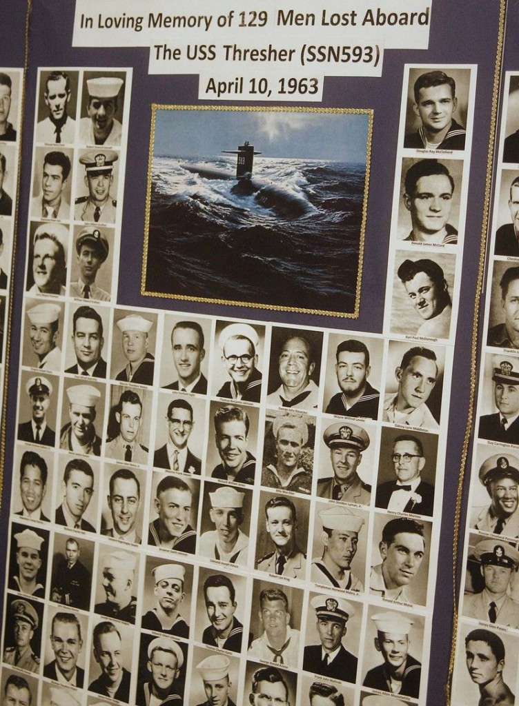 Cathy Beal of Kittery, daughter of sailor Daniel W. Beal Jr., made this memory board that will be part of next weekend's 50th anniversary memorial service for the 129 men lost aboard the USS Thresher.