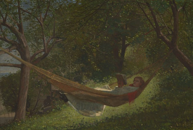 "Among the hundreds of pieces in the Lunder collection, ""Girl in a Hammock,"" 1873 oil on canvas by Winslow Homer."
