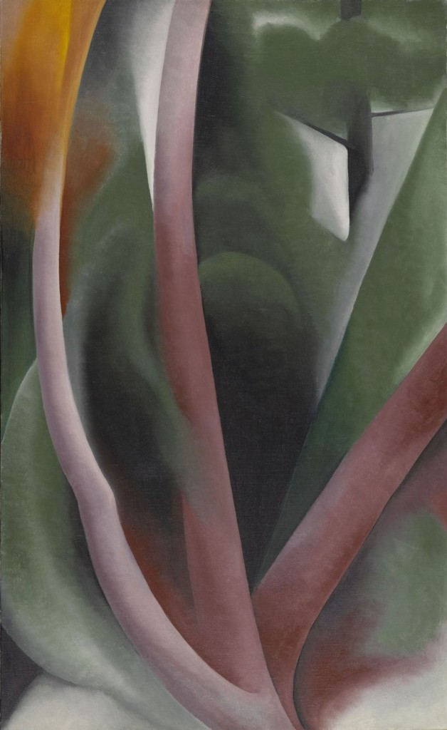 "Among the hundreds of pieces in the Lunder collection, ""Birch and Pine Trees – Pink,"" 1925 oil on canvas by Georgia O'Keeffe."
