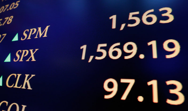 A board on the New York Stock Exchange floor Thursday shows the closing S&P 500 index number.