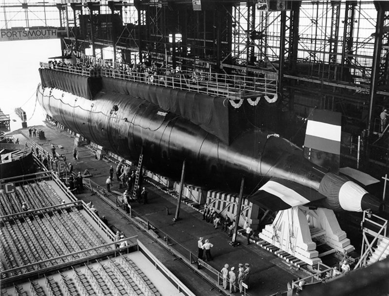 The USS Thresher before its launch at the Portsmouth Naval Shipyard in Kittery.