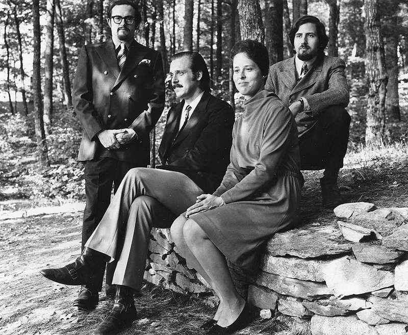 The Portland String Quartet, left – Paul Ross, Steve Kecskemethy, Julia Adams and Ronald Lantz – pose at Sabbathday Lake in 1970.