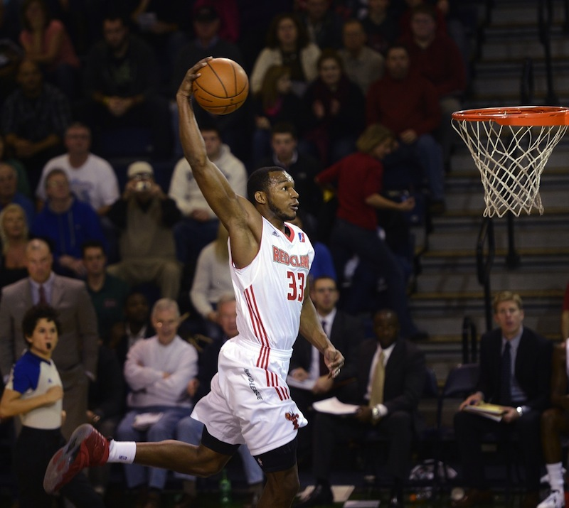 Chris Wright of the Maine Red Claws goes up for a dunk on a fast break against Sioux Falls Skyforce Sunday, December 2, 2012. With the Maine Red Claws rolling into the playoffs Thursday, April 10, 2013 for the first time in the team's four-year history, supporters discuss their love for the team.
