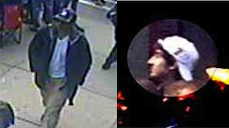 These photos captured from surveillance video show two suspects sought by the FBI.