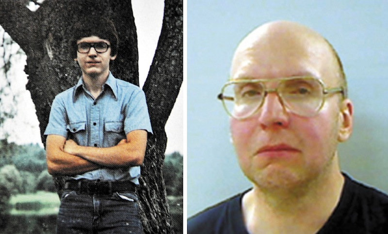 This combination photo shows Christopher Knight's 1984 Lawrence High School Year Book senior photo, left, and his booking photo from the Kennebec County jail.
