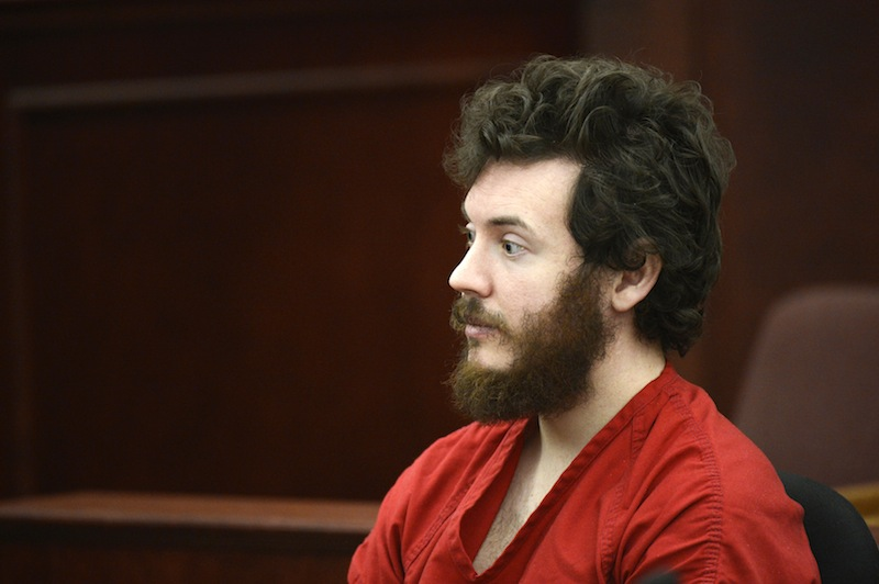 James Holmes, accused of killing 12 people last July in an Aurora movie theater, is shown in court last month in Centennial, Colo.