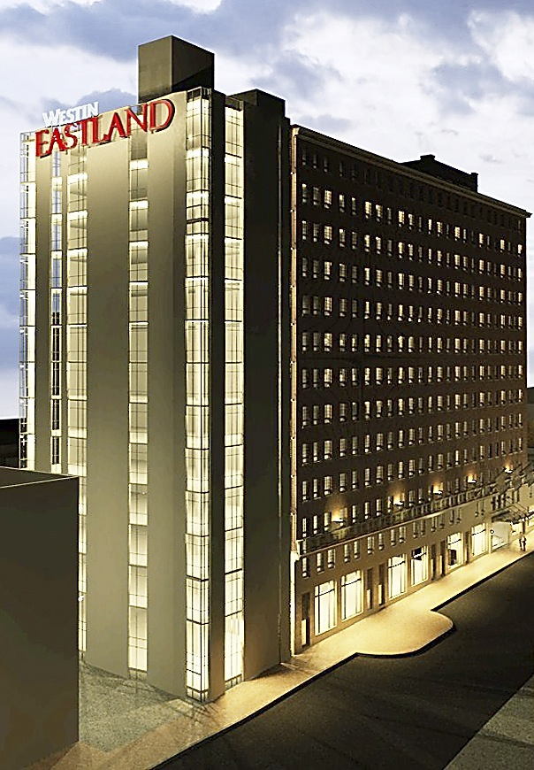 This is an artist rendering of the Westin Portland Harborview Hotel, which is keeping the Eastland sign for historic reasons demanded by the Portland City Council.