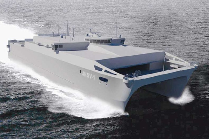 The USNS Millinocket is a Spearhead class Joint High Speed Vessel ideal for fast, transportation of troops, military vehicles, supplies and equipment. This is an artist's rendering.