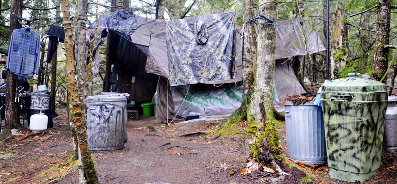 Christopher Knight's camp site located in a remote stand of woods in Rome moments before Game Wardens, State Police and Somerset County Sheriff's deputies inspected the camp Tuesday April 9, 2013. Police say Knight, who went into the woods near Belgrade in 1986, was a hermit who committed more than 1,000 burglaries to sustain himself.