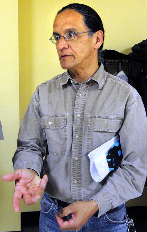 Newell Lewey, member of the Passamaquoddy tribal council, speaks with reporters on Wednesday April 3, 2013 in the Cross State Office Building in Augusta.