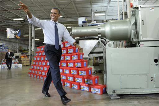 President Barack Obama arrives at the Rodon Group, which manufactures over 95 percent of the parts for K'NEX Brands toys, in Hatfield, Pa., in this 2012 photo. Major technology advances have steadily boosted U.S. factory efficiency and worker productivity.