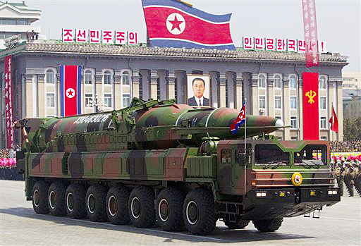 In this April 15, 2012, photo, a North Korean vehicle carrying a missile during a mass military parade in Pyongyang's Kim Il Sung Square to celebrate the centenary of the birth of the late North Korean founder Kim Il Sung.