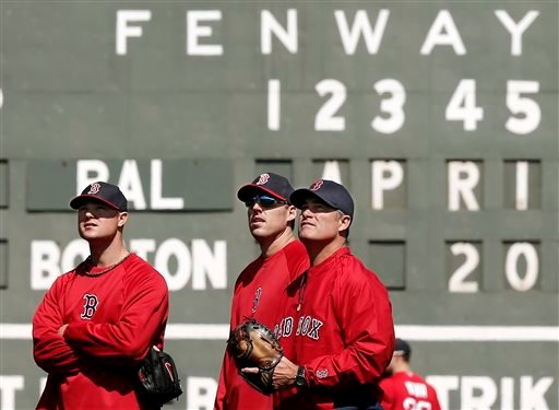 Boston Red Sox manager John Farrell, right, watches batting practice with pitchers John Lackey, center, and Jon Lester prior to the game against the Baltimore Orioles at Fenway Park on Monday.