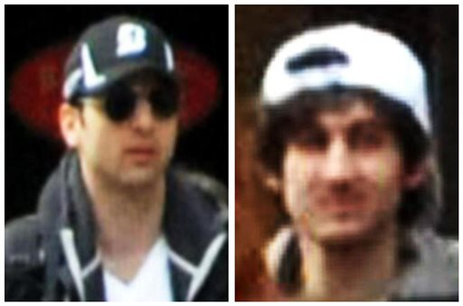 Photos released by the Federal Bureau of Investigation early Friday show bombing suspects they identified as Tamerlan Tsarnaev, 26, left, and Dzhokhar A. Tsarnaev, 19.