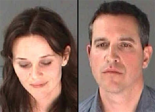 Photos provided by the City of Atlanta Department of Corrections show Reese Witherspoon and her husband James Toth. The Oscar-winning actress was arrested on a disorderly conduct charge after a state trooper said she wouldn't stay in the car while Toth was given a field sobriety test in Atlanta.