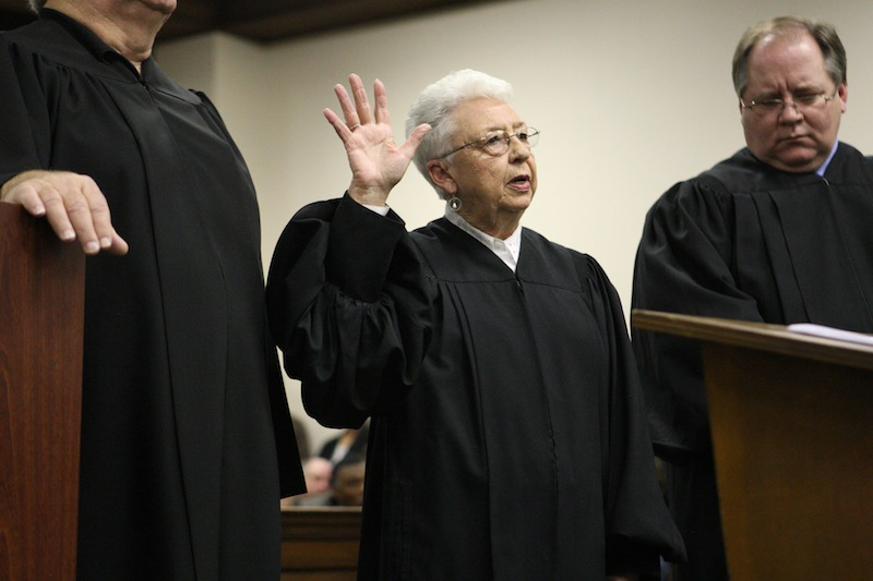 Sadie Holland takes the oath of ofice for Justice Court Judge during the swearing in ceremony in 2011 at the Lee County Justice Center in Tupelo. She was the first to receive letters laced with ricin. (AP Photo/Northeast Mississippi Daily Journal)