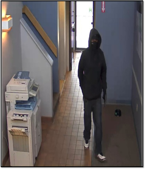 This security-camera image shows the alleged bank robber of TD Bank branch at 9 Market St. in South Portland. The bank was robbed Monday, April 22, 2013.