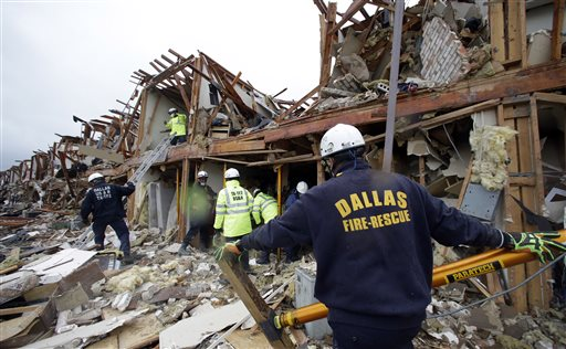 Emergency personnel on Thursday search the rubble of an apartment destroyed by an explosion at a fertilizer plant in West, Texas.