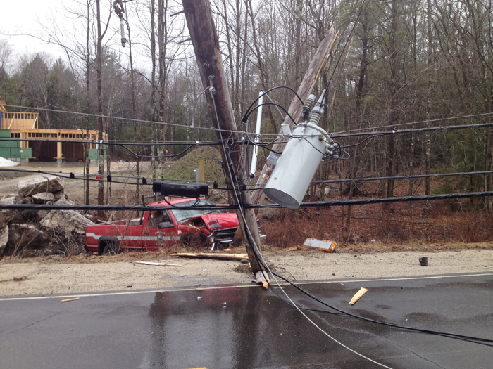 Downed utility pole on Longwoods Road in Falmouth. Photo by Lt. John F. Kilbride of the Falmouth Police Department.