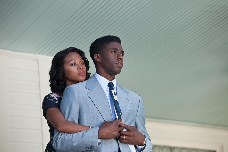 "Nicole Beharie and Chadwick Boseman as Rachel and Jackie Robinson in ""42."
