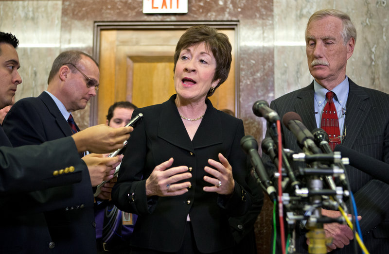 In this file photo, U.S. Sens. Susan Collins, R-Maine, and Angus King, I-Maine. Maine's two U.S. senators expressed strong disappointment about Wednesday's Senate defeat of a proposal to expand background checks on private gun sales.