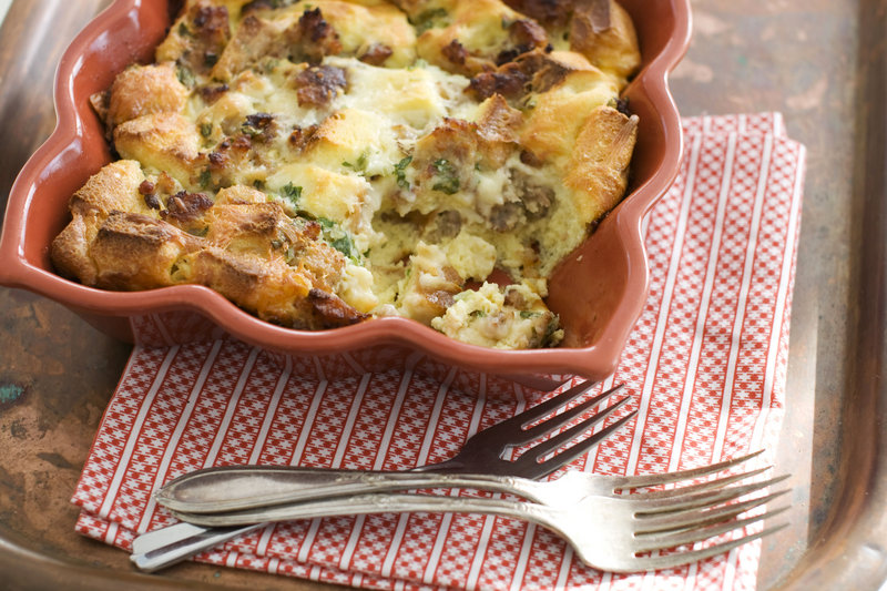 Typically served for breakfast or brunch, egg strata can be adapted in many ways, depending on whether you favor sweet or savory, among other things. This writer favors the classic cheddar and breakfast sausage version.