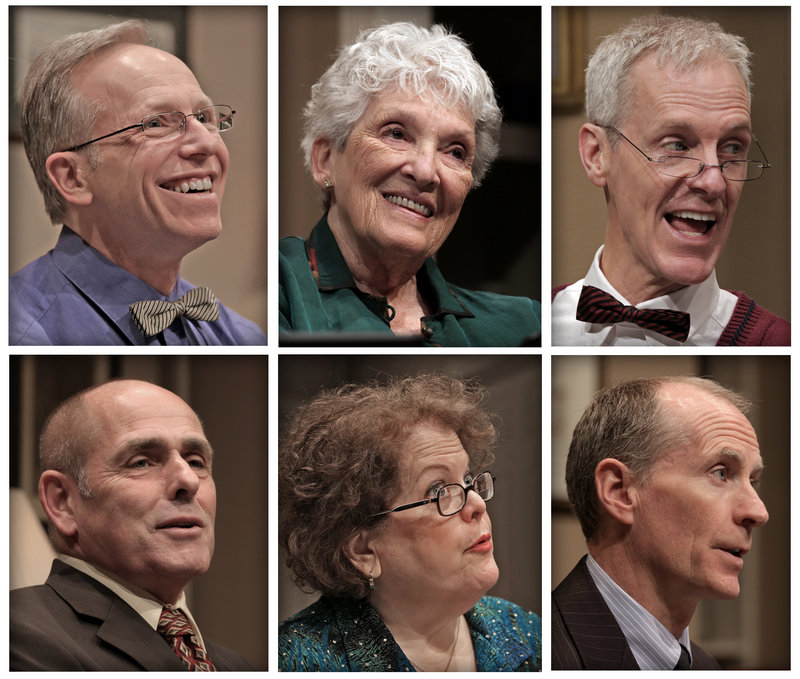 "The cast of Good Theater's ""Ancestral Voices,"" top, left to right: Brian P. Allen as Eddie, Jocelyn Lavin Pollard as Grandmother and Stephen Underwood as Grandfather. Bottom, Bob McCormack as Harvey, Lee K. Paige as Jane and Wil Kilroy, who plays Harvey on Thursday."