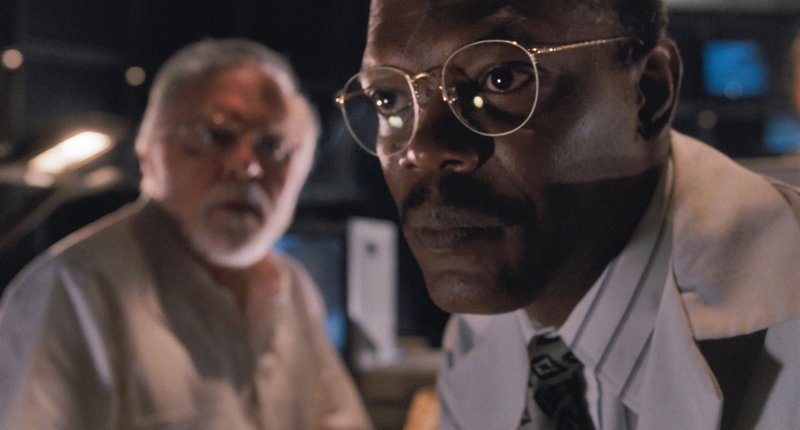 Richard Attenborough and Samuel L. Jackson in the Jurassic Park control room.