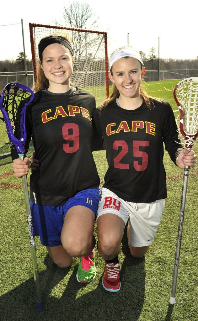 Cape Elizabeth girls' lacrosse players Lauren Steidl, left, and Talley Perkins are both headed for Division I college programs, as Perkins will attend Boston University and Steidl will be at Princeton next year.