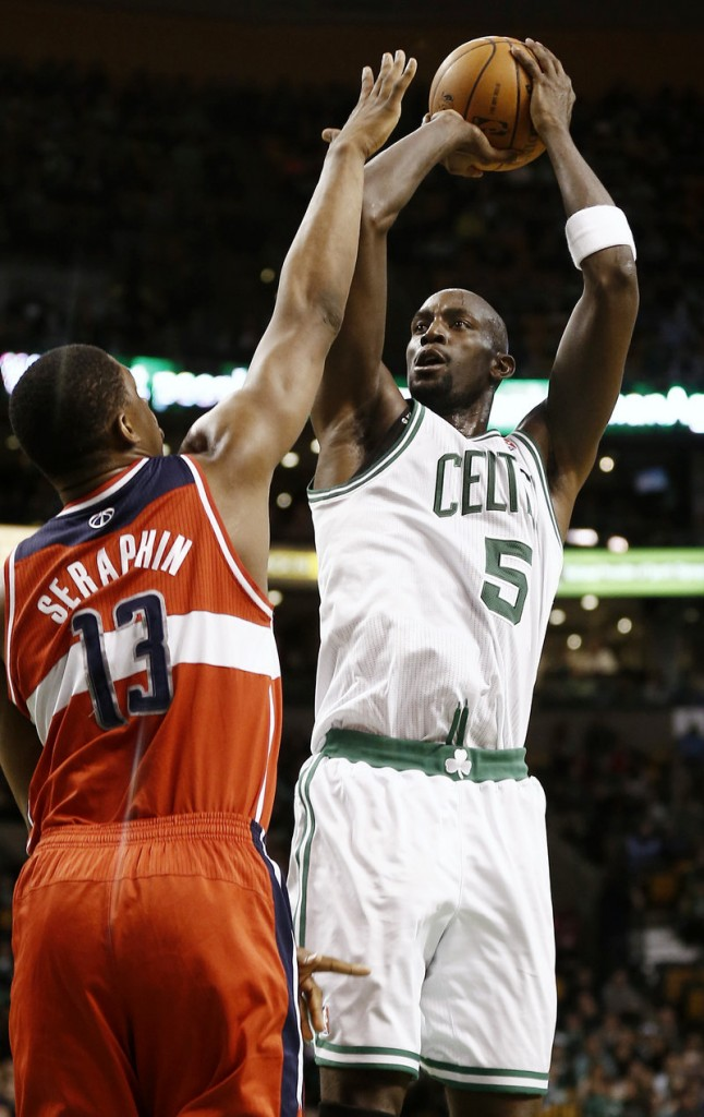 Boston's Kevin Garnett scored 12 points in a 107-96 win over the Wizards at Boston on Sunday. It was Garnett's first night back after missing eight games with an inflamed ankle.