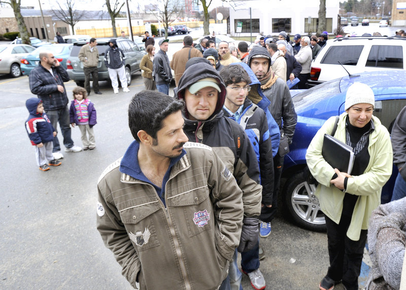 Kareem Alashammari from Portland was first of more than 700 people who lined up at the Portland Housing Authority on Baxter Boulevard on Wednesday, April 10, 2013 to get on a waiting list for housing assistance.