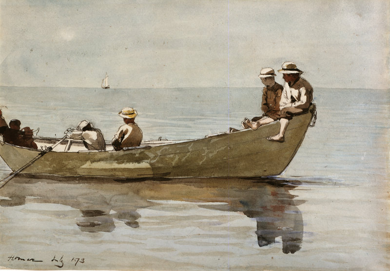 "Winslow Homer's ""Seven Boys in a Dory,"" 1873, watercolor on paper"