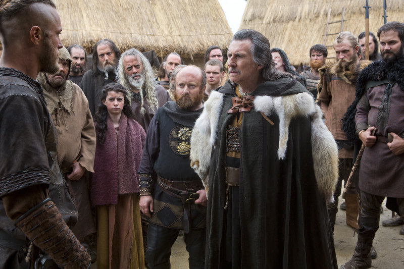 "Gabriel Byrne, right, with Travis Fimmel in the History Channel series, ""Vikings."" Byrne, a Norse chieftan in ""Vikings,"" also played a psychologist in the HBO drama ""In Treatment."""