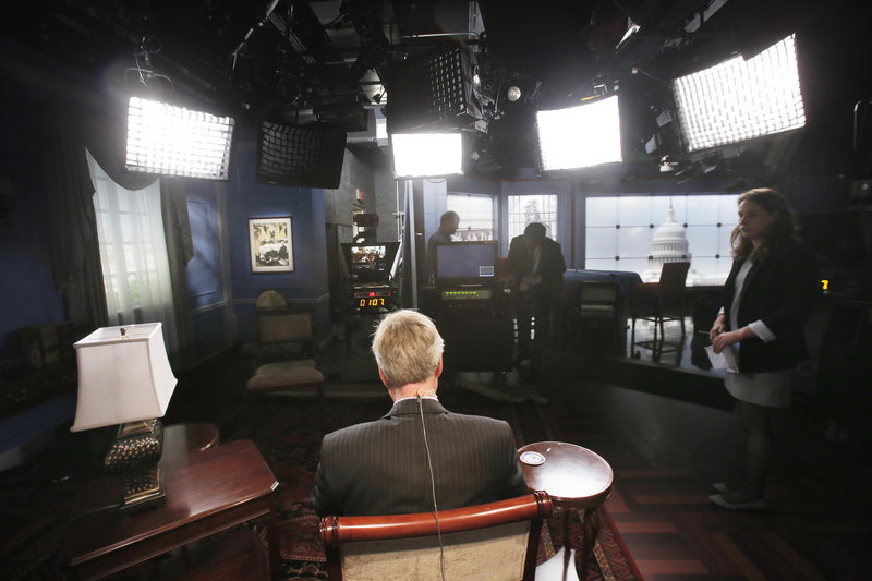 In a TV studio in the basement of the Capitol, Maine Sen. Angus King waits for the start of an online meeting with students at Bucksport High School on Wednesday. He spoke to the teens about his experiences as a senator over the past three months and answered their questions.