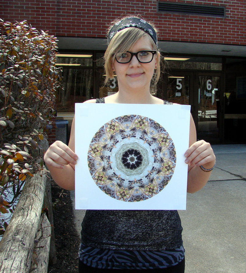 Wells High junior Madilin Pagliarulo with her Silver Key-winning mandala.