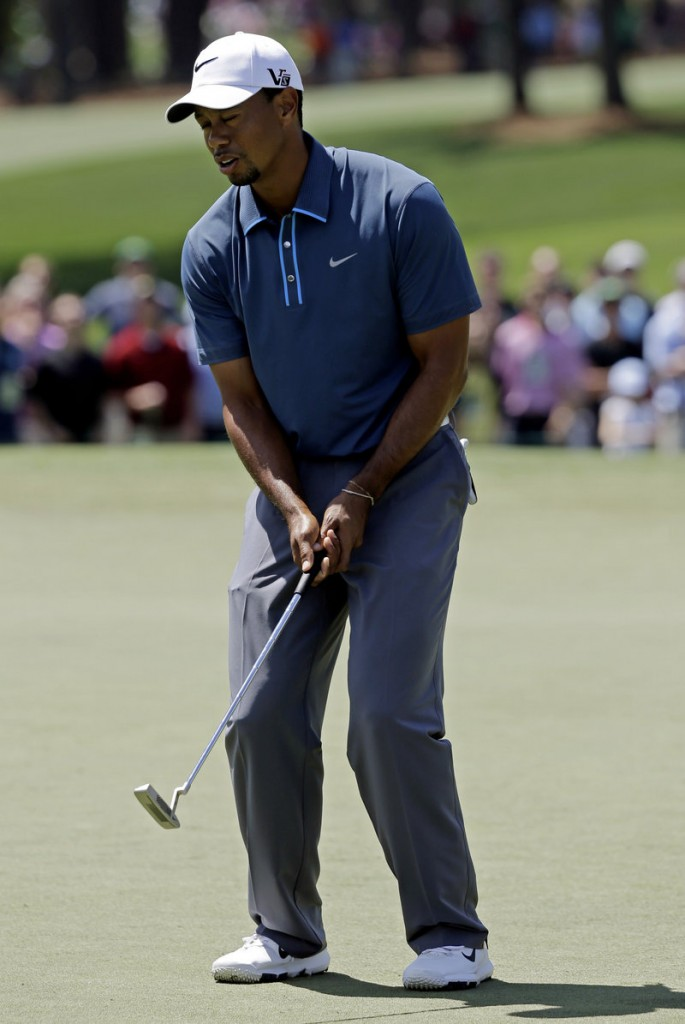 Tiger Woods was given a two-shot penalty for taking an illegal drop during Friday's round.