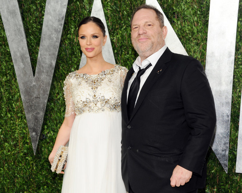 Georgina Chapman and her husband, producer Harvey Weinstein, attend the 2013 Vanity Fair Oscars Viewing and After Party.