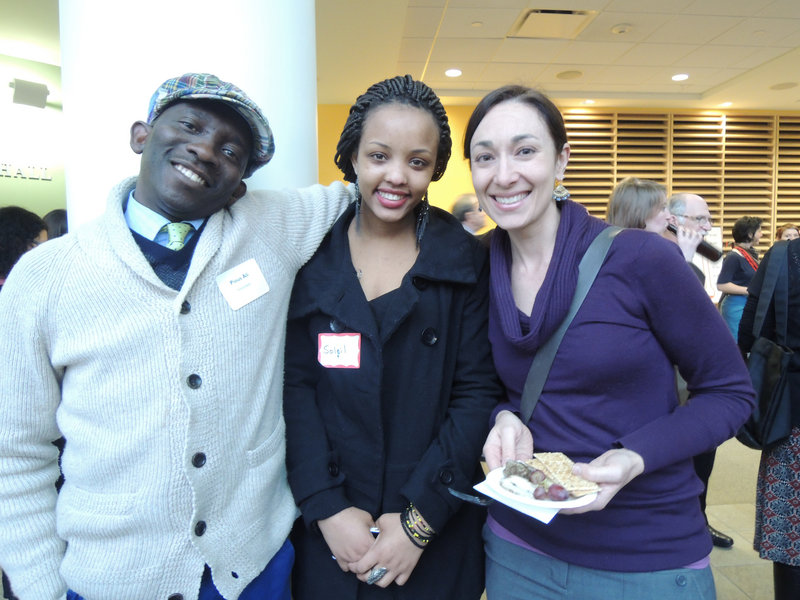 Pious All of the Maine Interfaith Alliance; Soleil Kinyana, an immigrant from the Republic of Congo; and Shayna Malyata, a teacher at Lincoln Middle School in Portland