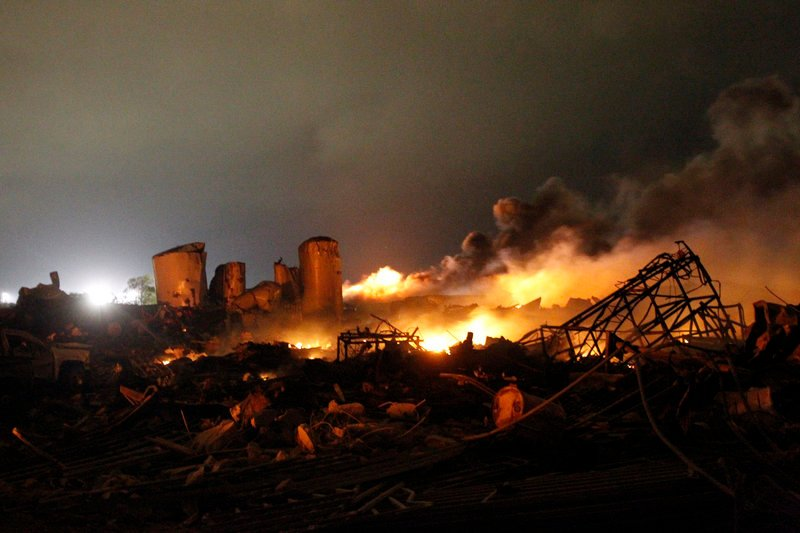 Reuters The remains of the plant continued to burn hours after the explosion shook the town of West, Texas, on Wednesday.