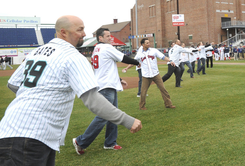 Fletcher Bates, Ryan Cameron and Glenn Reeves were among the former Sea Dogs who threw out first pitches Thursday night.