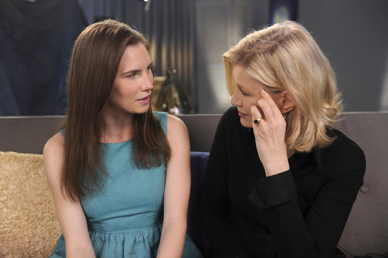 This April 9 photo released by ABC shows Amanda Knox, left, speaking with ABC News' Diane Sawyer during a taped interview. It will air April 30.