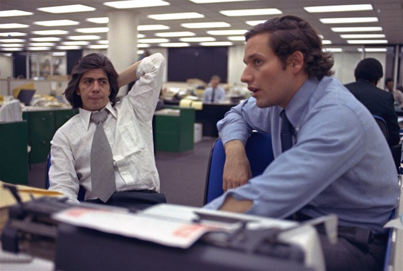 Carl Bernstein, left, and Bob Woodward, shown in The Washington Post newsroom on May 7, 1973, add their perspective to
