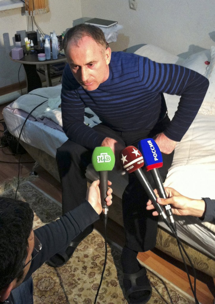 The father of the Boston bomb suspects, Anzor Tsarnaev, speaks to the media at his home in Makhachkala, the capital of Dagestan, a mostly Muslim republic in southern Russia, on Friday.