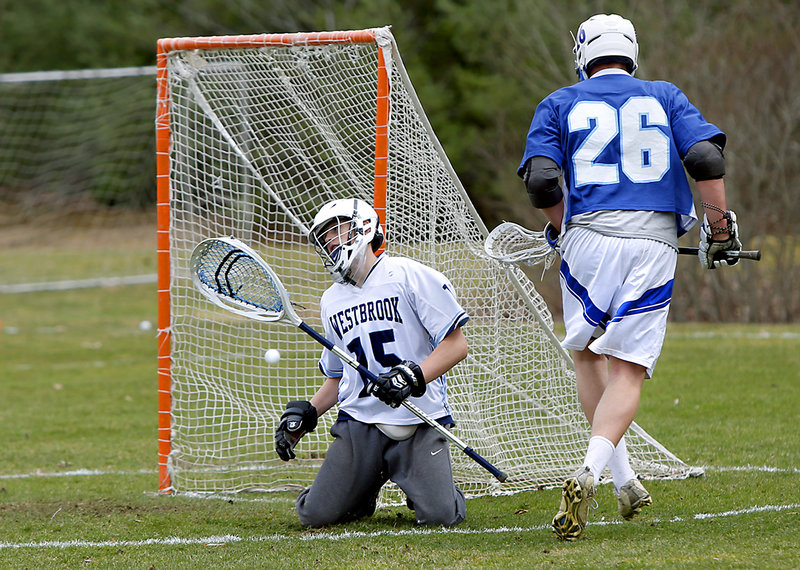 Westbrook goalie Alex LeBlanc reacts after giving up a goal to Kennebunk's Jacob Boothby in the second quarter.