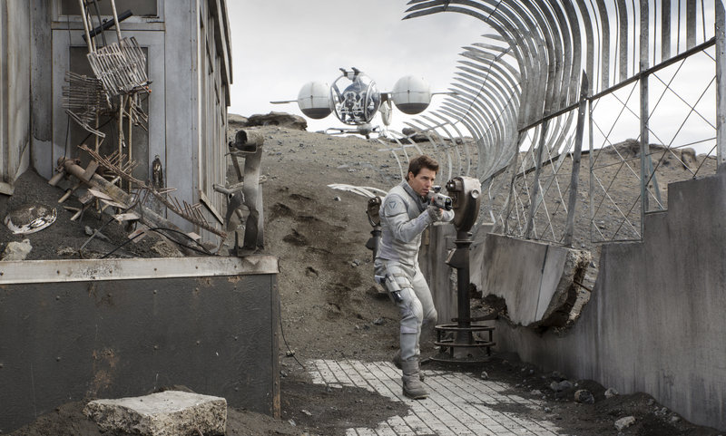 """Oblivion"" stars Tom Cruise as a machine repairman who gets ambushed in the wastelands of Earth after a war with aliens."