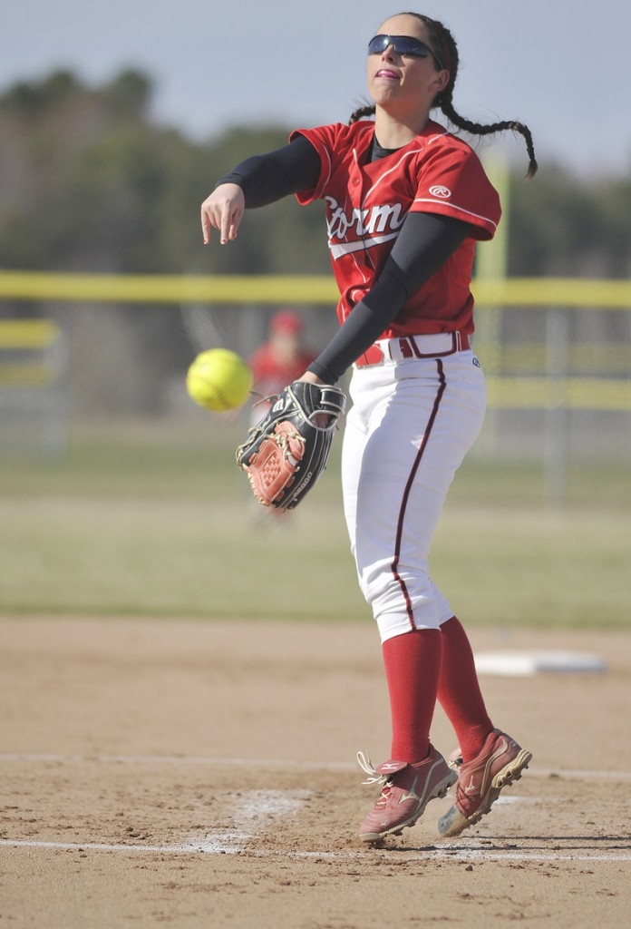 Scarborough's Erin Giles delivers a pitch during the Red Storm's 15-5 win at South Portland on Monday, in an early matchup of softball powerhouses.
